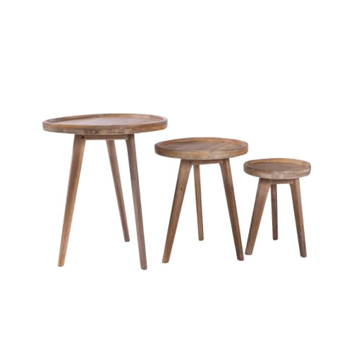 Outdoor-Tisch Zirkel, rund, Akazienholz Vorderansicht