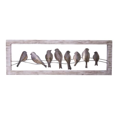 Wand-Objekt Vögel, handgearbeitet, ca. B120 x H40 cm Vorderansicht