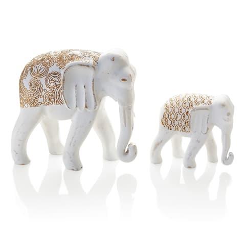 Deko-Figuren-Set, 2-tlg. Elefanten, mit goldfarbenem Orient-Print, MDF, groß ca. H19 cm , klein ca. H11,5 cm Katalogbild