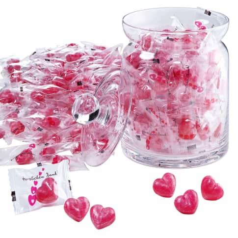 Herz-Bonbons, 1 kg, transparente Folie, 270 Stück Vorderansicht