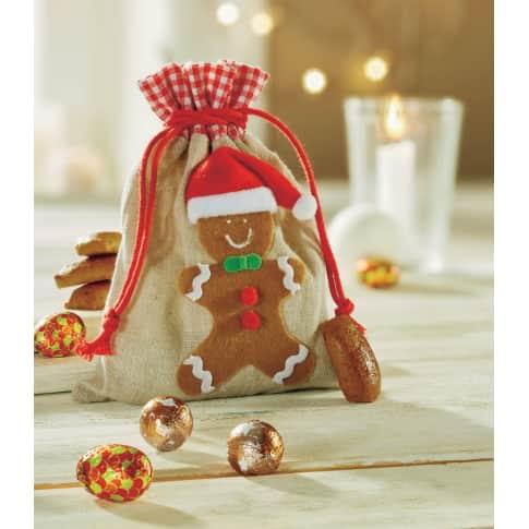 Weihnachtsbeutel Lebkuchenmann, 90% Polyester 10% Leinen, ca. 14 x 18 cm Katalogbild