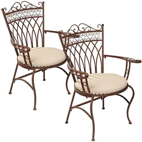 Outdoor-Stuhl-Set, 2-tlg. Versailles, nostalgisch, Eisen Vorderansicht