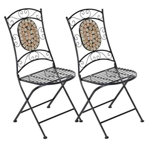 Outdoor-Stuhl-Set, 2-tlg. Kemo, mit Mosaik-Verzierung, Metall, Steine Vorderansicht