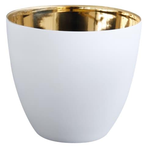 Windlicht Ø 9 cm, gold/weiß Vorderansicht