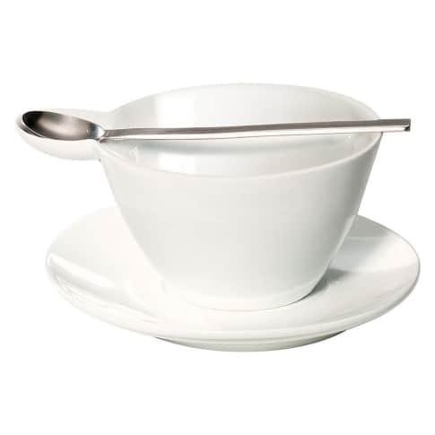 Suppentasse, 3-tlg. mit Löffel Vorderansicht