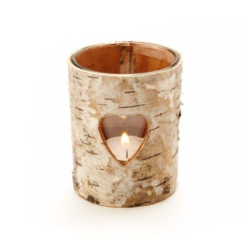 Teelichthalter, Birkenrinde/ Glas, ca. H8 cm Vorderansicht