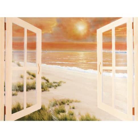 Bild Fenster mit Sonnenuntergang Vorderansicht