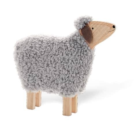 Deko-Figur Schaf Hanni, mit echter Wolle, Holz, ca. B52 x T10 x H47 cm Vorderansicht