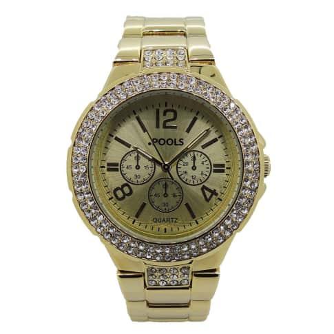 Armbanduhr, mit Strass-Steinen Vorderansicht