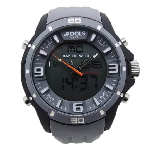 Armbanduhr, analog+digital, mit Silikonband Vorderansicht