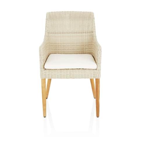 Outdoor-Stuhl Nora, mit Auflagen, modern, Kunststoffrattan, Massivholz Vorderansicht