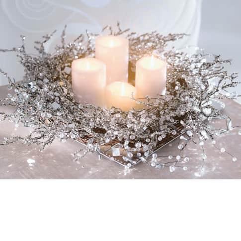 Deko-Kranz Snowglitter, Rattan/ Perlen/ Glaskristalle, ca. 50 cm Ø Katalogbild