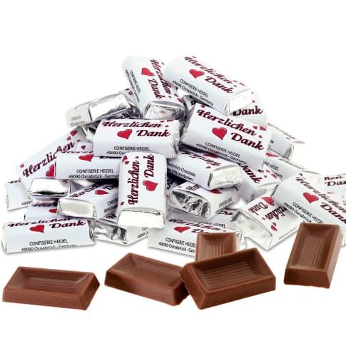 Schokoladentäfelchen, 100-tlg. Herzlichen Dank, Edel-Vollmilchschokolade, Edel-Vollmilchschokolade (Kakao 37% mind.) Vorderansicht