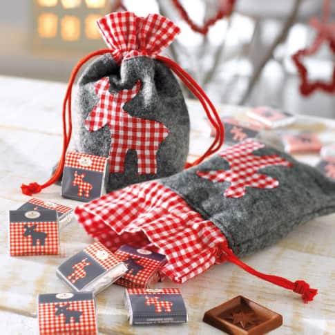 Weihnachtsbeutel Elch, mit Zugband, 80% Polyester and 20% Leinen, 13 x 17.5 cm Katalogbild