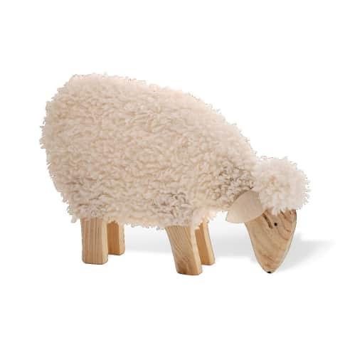 Deko-Figur Schaf Nanni, mit echter Wolle, Holz, ca. B45 x T8 x H30 cm Vorderansicht