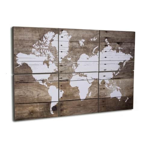 Bilder-Set, 6-tlg. World, Holz Vorderansicht