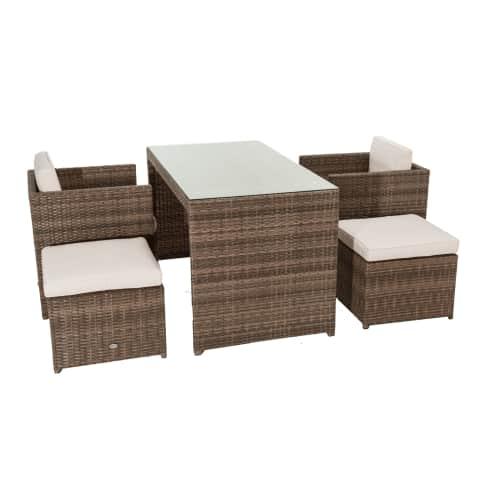 Outdoor-Möbel-Set, 5-tlg. Moreno, sehr platzsparend, inkl. Auflagen Vorderansicht