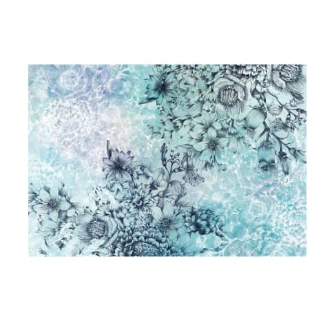Vliestapete Blütentraum in Blau Vorderansicht
