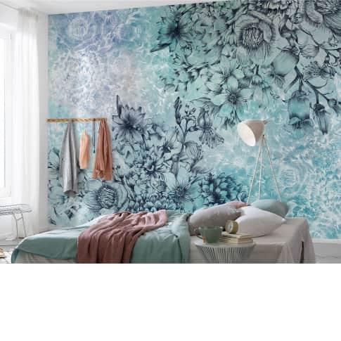 Vliestapete Blütentraum in Blau Katalogbild