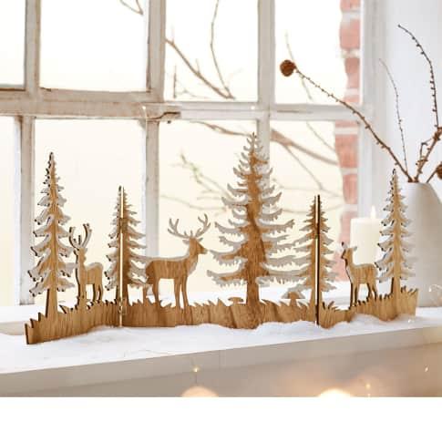 Weihnachts-Silhouette Zauberwald, zum Aufklappen, Holz, ca. L30 x  B30 cm pro Segment Katalogbild