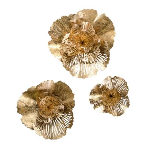 Wand-Objekt, 3-tlg. Flower, Metall Vorderansicht