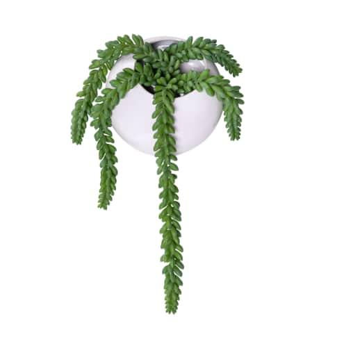 Kunstpflanze Ranken im Wandpflanztopf, Pflanztopf, modern, Kunststoff, Steingut Vorderansicht