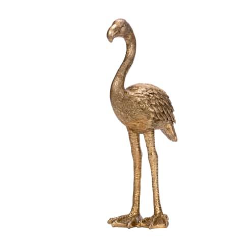 Deko-Figur Golden Flamingo, glamourös, Polyresin (Kunststoff), ca. 30 cm hoch Vorderansicht