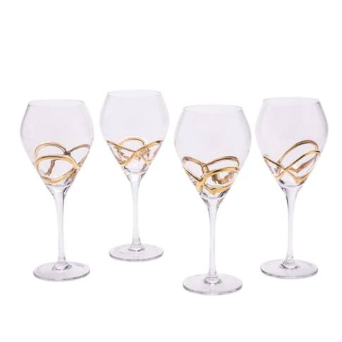 Weinglas-Set, 4-tlg. Noblesse, goldfarbenes Relief Vorderansicht