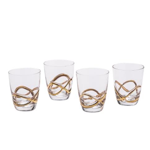 Wasserglas-Set, 4-tlg. Noblesse, goldfarbenes Relief Vorderansicht
