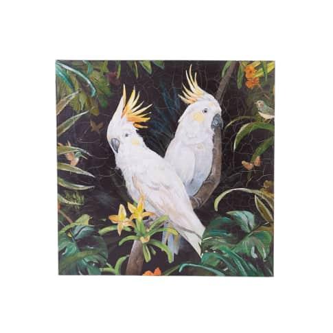 Bild Kakadu, mit Krakelee-Optik, Acrylfarbe auf Leinwand, ca. 80 x 80 cm Vorderansicht