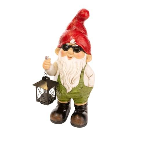 Deko-Figur Eugen mit Laterne, Mit Teelichthalter Vorderansicht
