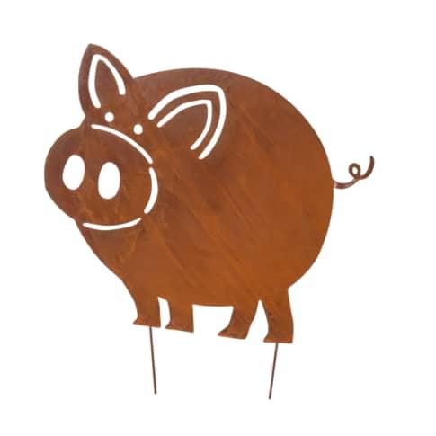 Gartenstecker Schwein Leon, in Rost-Optik Vorderansicht