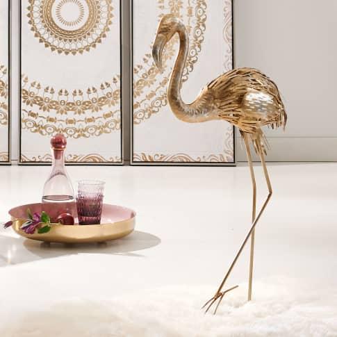 Deko-Figur Flamingo Glam, Gold-/Silberfarben, Metall, ca. 85 cm hoch Katalogbild