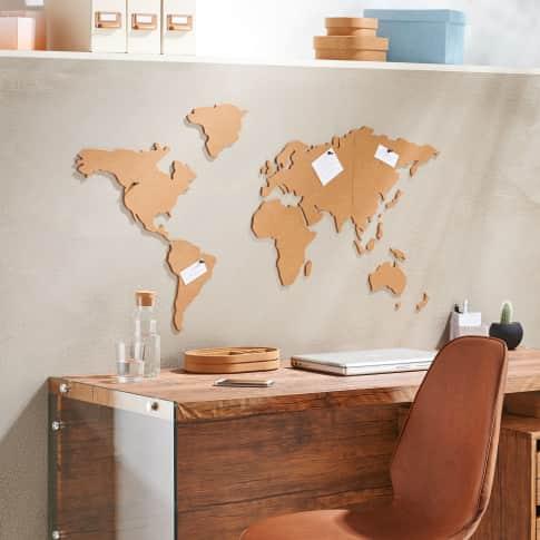 Weltkarte aus Kork, selbstklebend, mit 6 schwarzen Pins Katalogbild