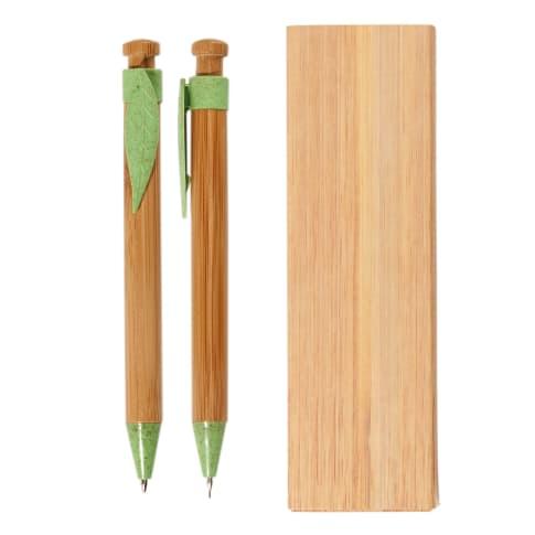 Schreib-Set, 2-tlg. Bambus, inkl. Geschenketui, blaue Standardmine Vorderansicht