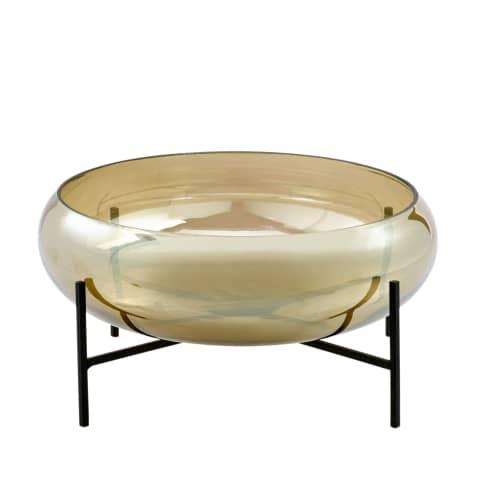 Deko-Glas-Schale mit Ständer, changierendes Glas, Glas, Metall, Ø 34 cm Vorderansicht