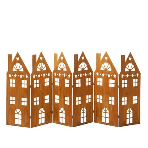 Deko-Objekt Häuserreihe Amsterdam, in Rost-Optik, Metall, L 147 x H 60 cm Vorderansicht