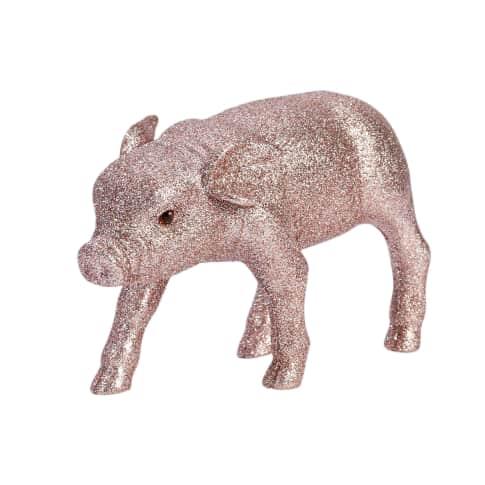 Deko-Figur Schwein Glitzer-Piggy, Plastik Vorderansicht