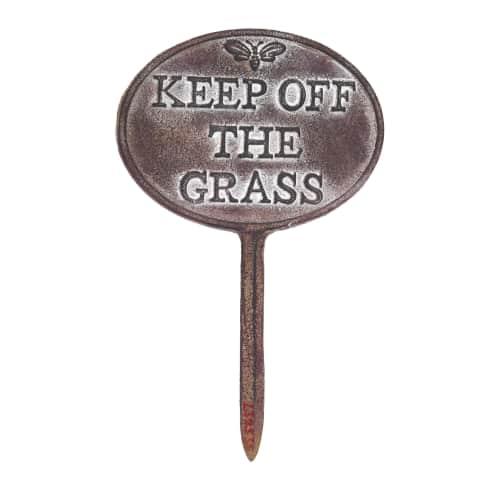 Gartenstecker Keep off the grass Vorderansicht