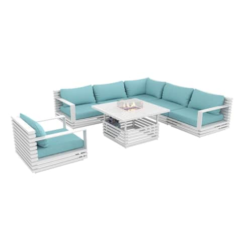 Outdoor-Lounge-Set, 4-tlg. Kamintisch, inkl Auflagen in zwei Farben, Alu Vorderansicht