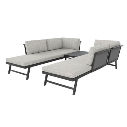Outdoor-Lounge-Set, 3-tlg Azur, inkl. Auflagen, Alu Vorderansicht