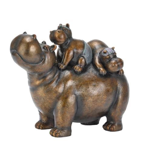 Deko-Figur Nilpferd Chilly Hippos, ca. 34 cm lang Vorderansicht