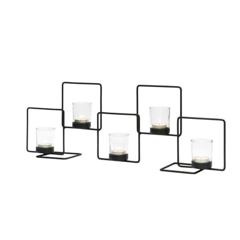 Metall-Kerzenhalter Quadra, inkl. 5 Gläser Vorderansicht