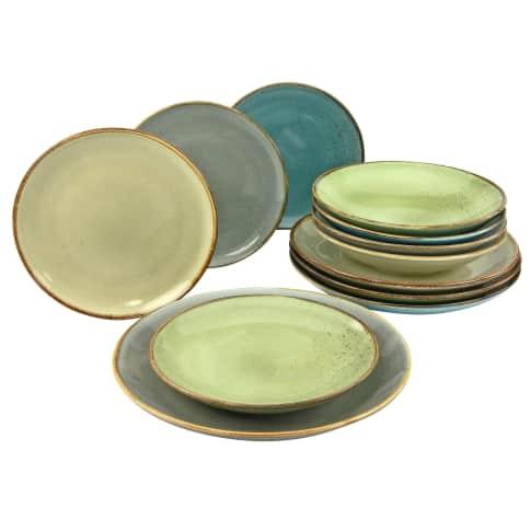 Teller-Set  12-tlg. Elements, spülmaschienen- und mikrowellengeeignet , Vintage-Look, hochwertiges Steinzeug Vorderansicht