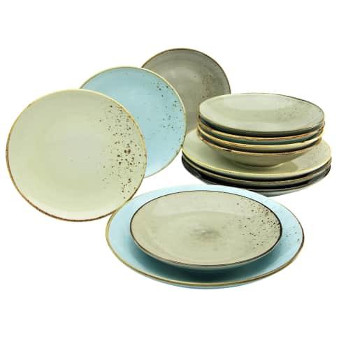 Teller-Set 12-tlg. Mika, spühlmaschienen- und mikrowellengeeugnet , Vintage-Look, hochwertiges Steinzeug Vorderansicht