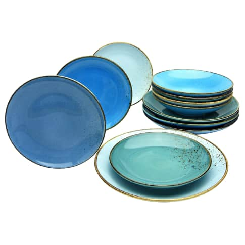 Teller-Set 12-tlg. Viva, spülmaschienen- und mikrowellengeeignet , Vintage-Look, hochwertiges Steinzeug Vorderansicht