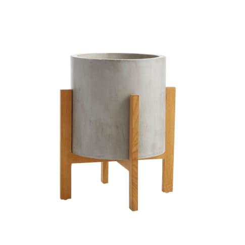 Deko-Übertopf Sencillo, inkl. Bambus-Ständer, Beton-Optik Vorderansicht