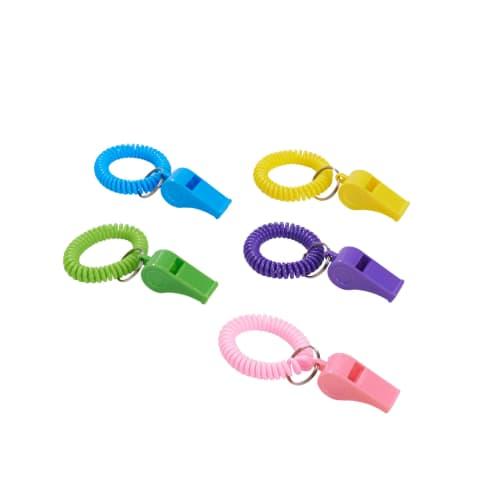 Trillerpfeife mit Armband, 24-tlg. Bunt Vorderansicht