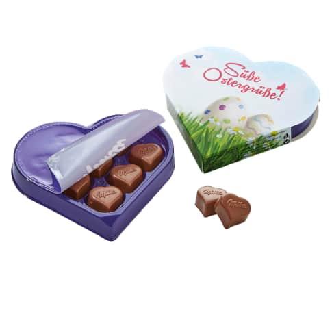 Präsentschachtel Süße Ostergrüße, 8 Milka-Pralinen, Nuss-Nougat-Créme Vorderansicht
