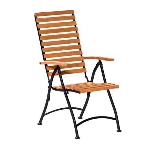 Outdoor-Hochlehner Bellagio, Hochlehner mit höhenverstellbarer Rückenlehne, Landhausstil, Holz, Metall Vorderansicht